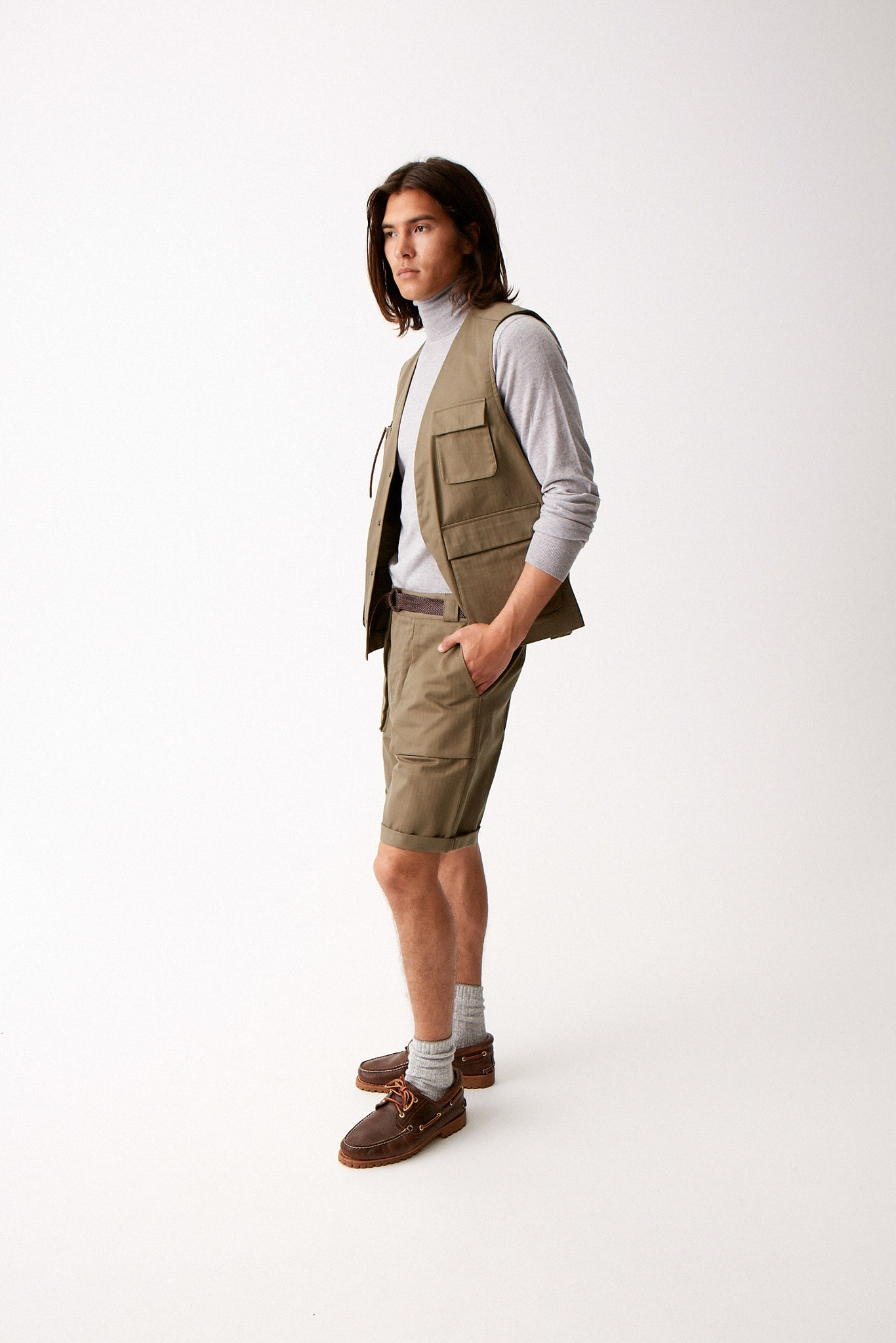 Green Herringbone Walking Shorts