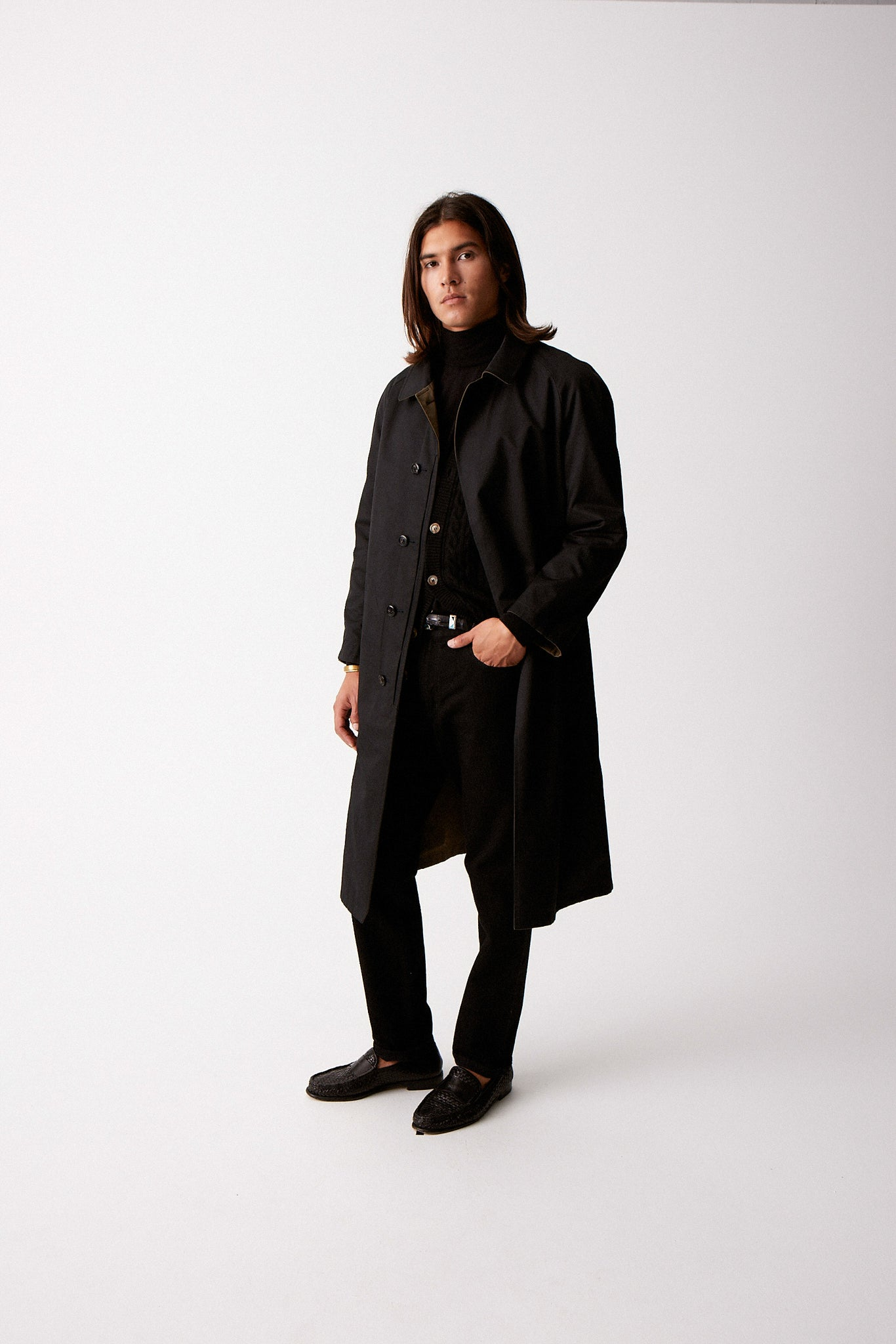 Black Single Breasted Raglan Overcoat