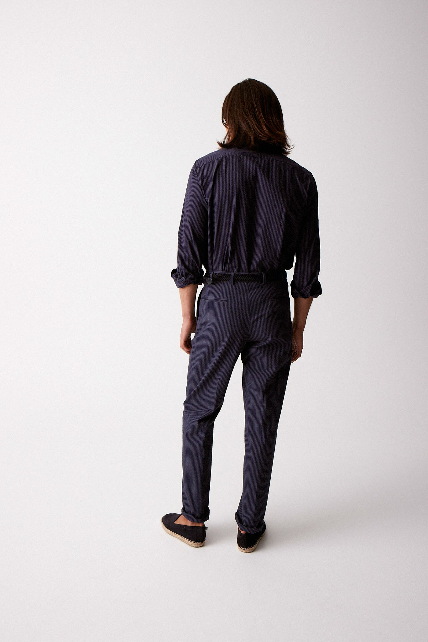 Navy on Navy Seersucker Trousers