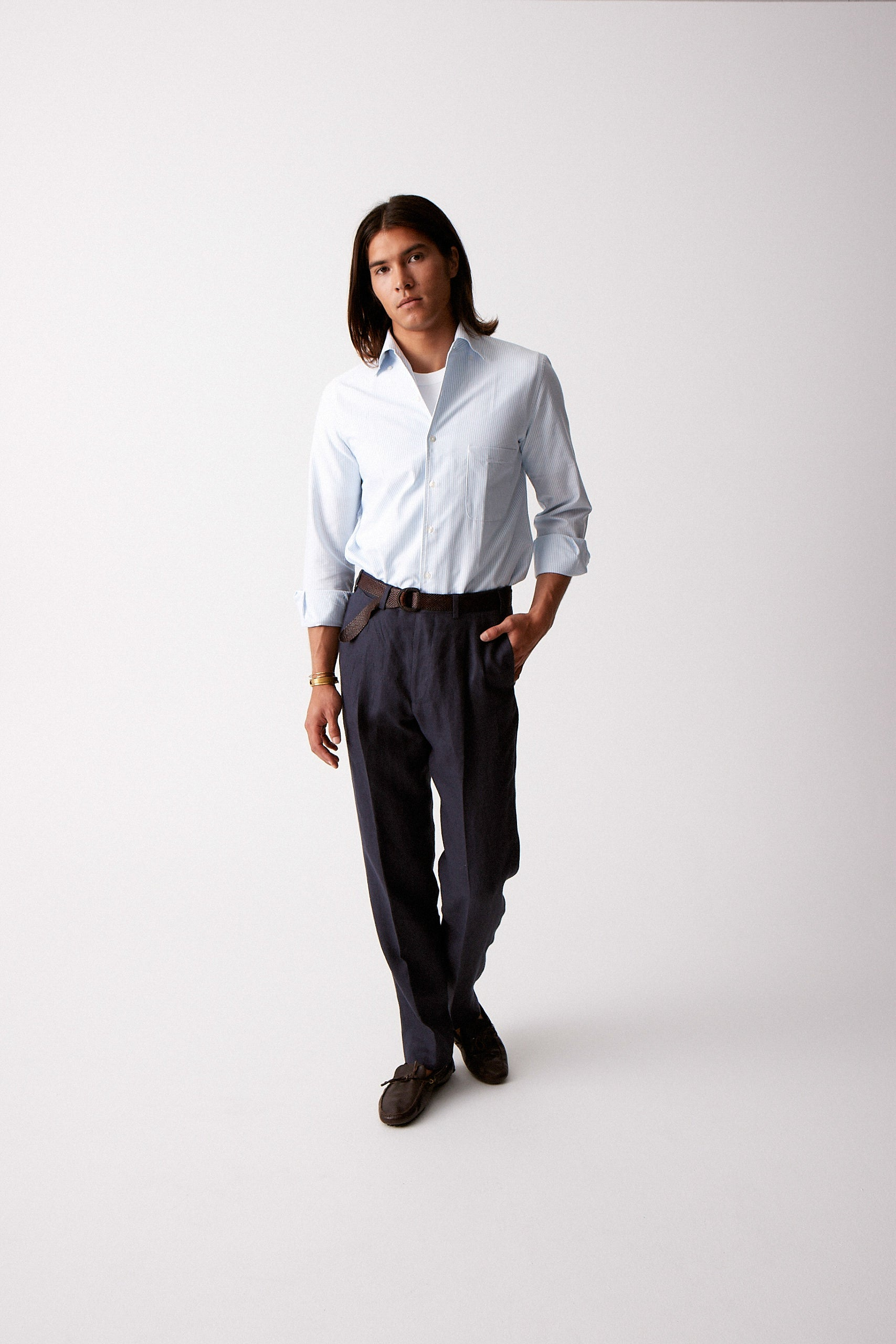 Navy Linen Trousers w/ Double Pleat