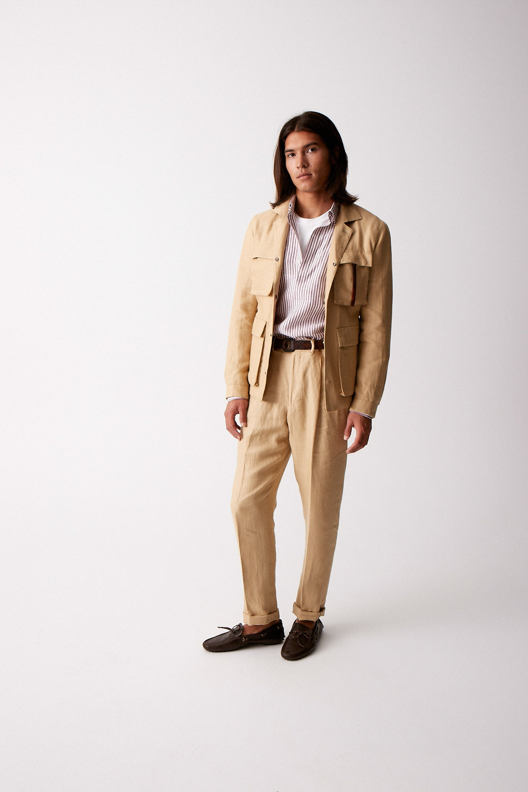Sand Linen Trousers w/ Double Pleat