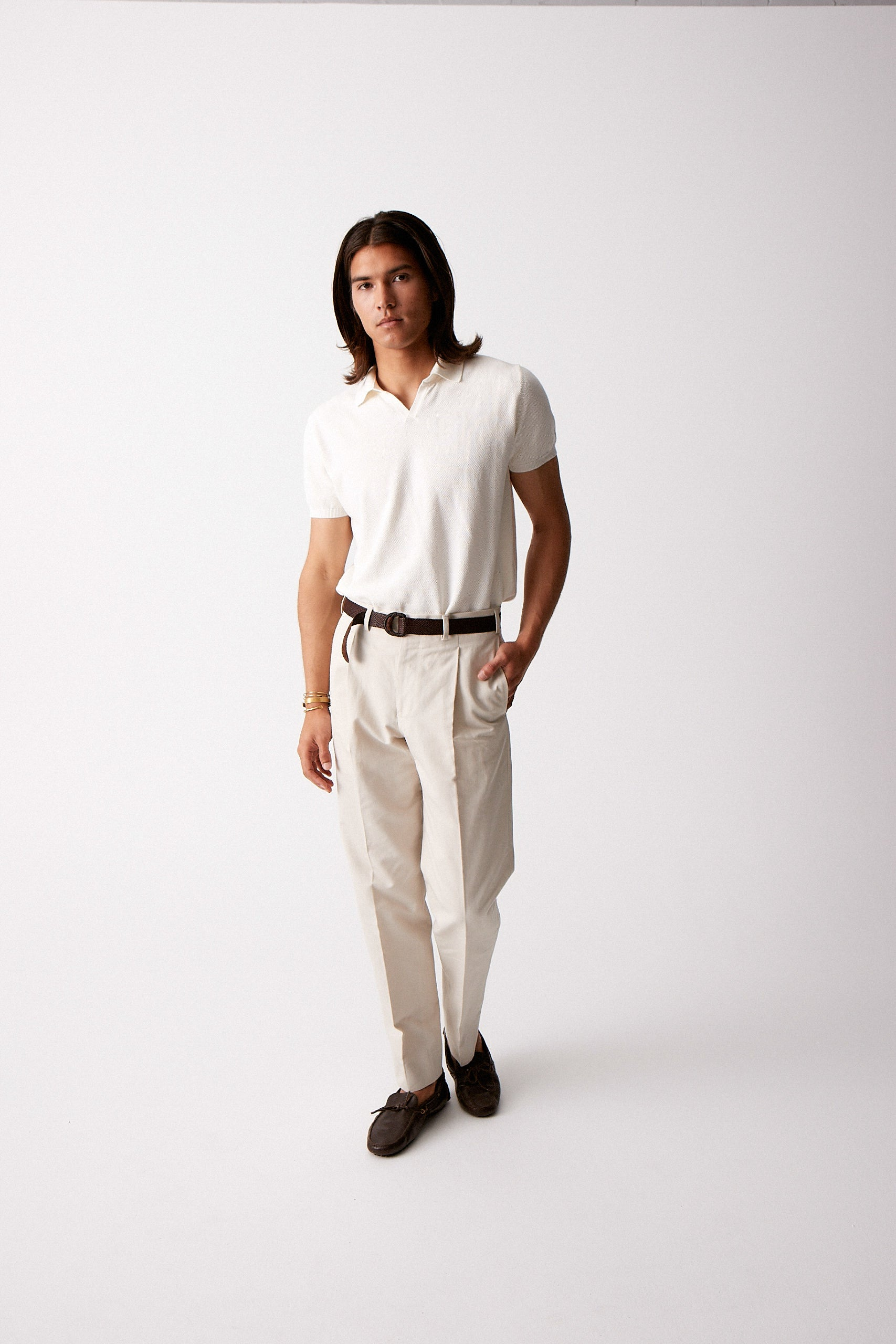 Beige Cotton Linen Trousers w/ Single Pleat
