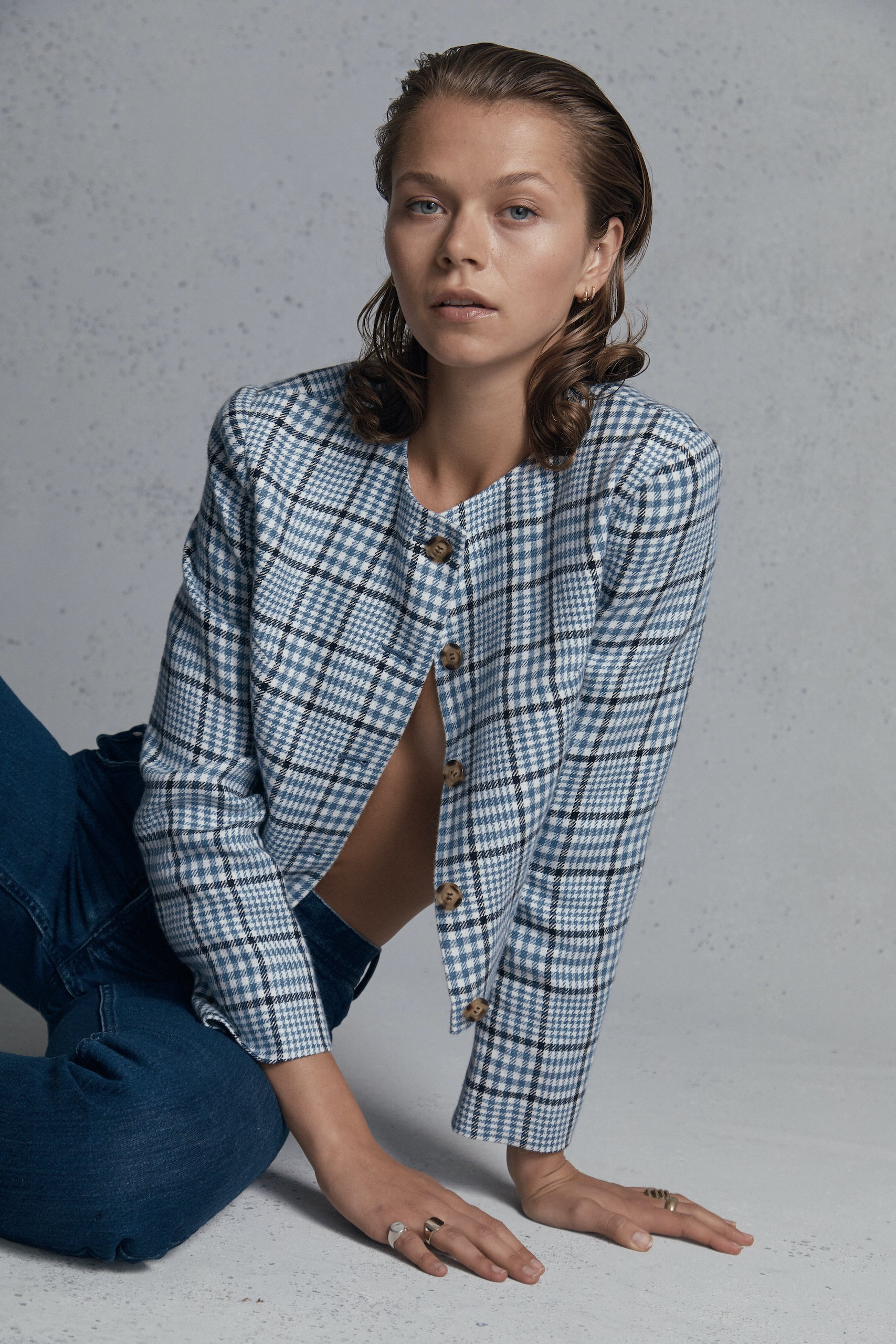 Blue & Navy Check Corta Jacket
