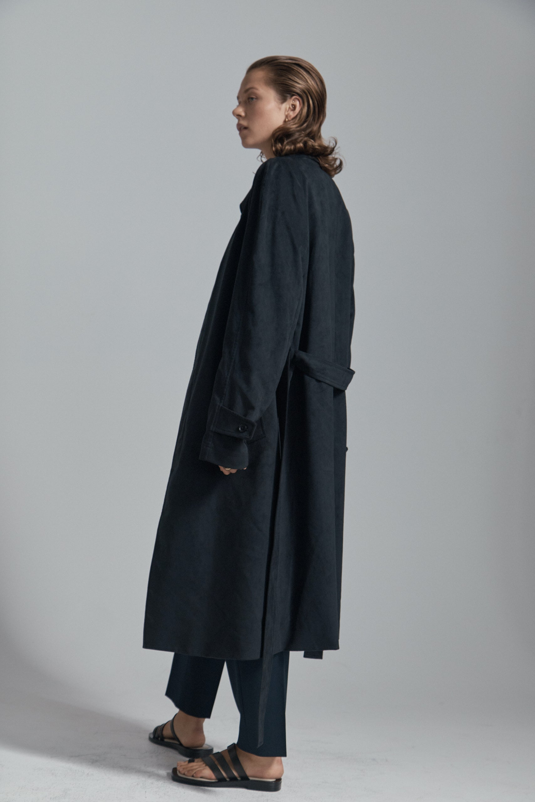 "Black ""Vegan Suede"" Single Breasted Raglan Overcoat"