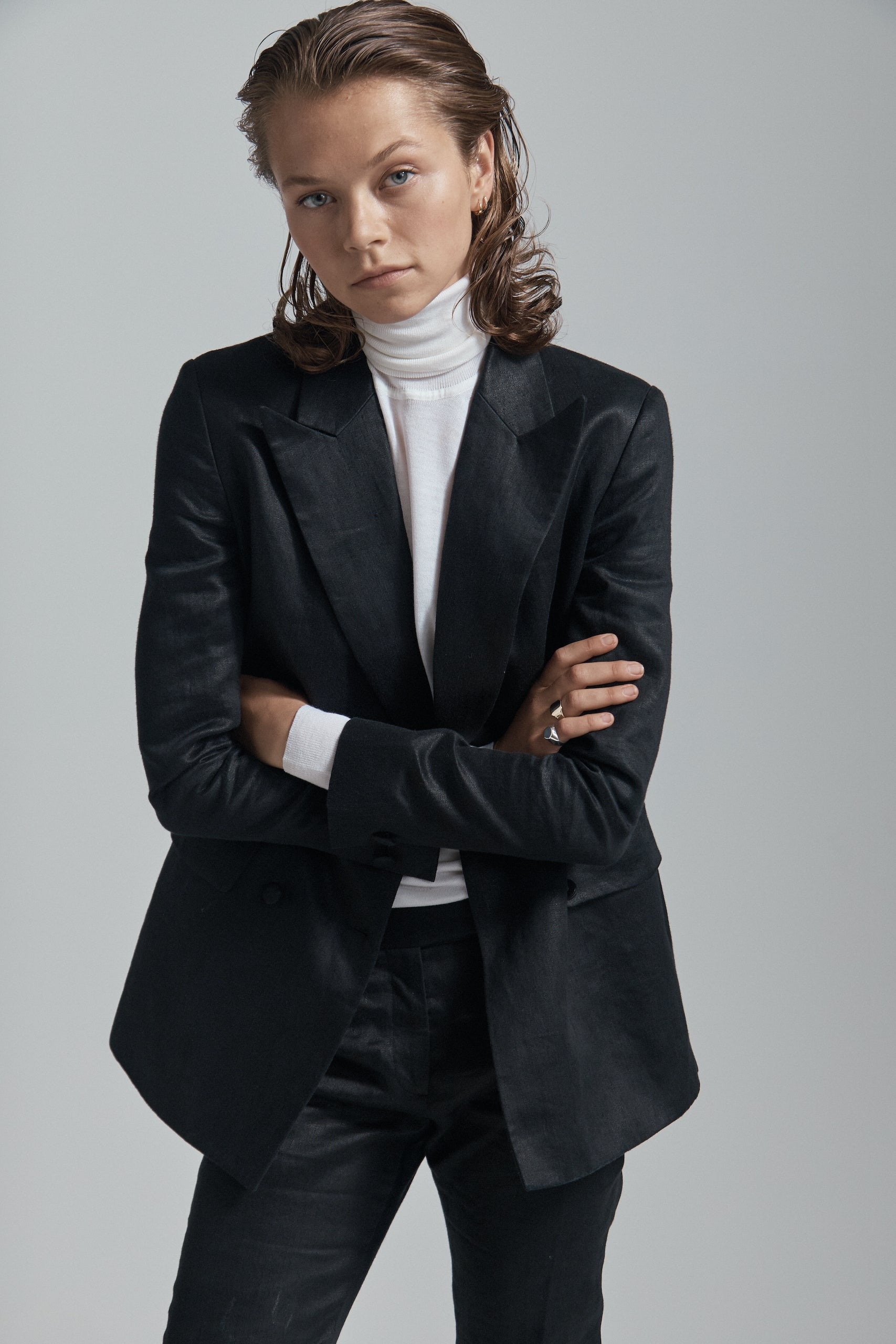 Black Glazed Linen Double Breasted Classic Blazer