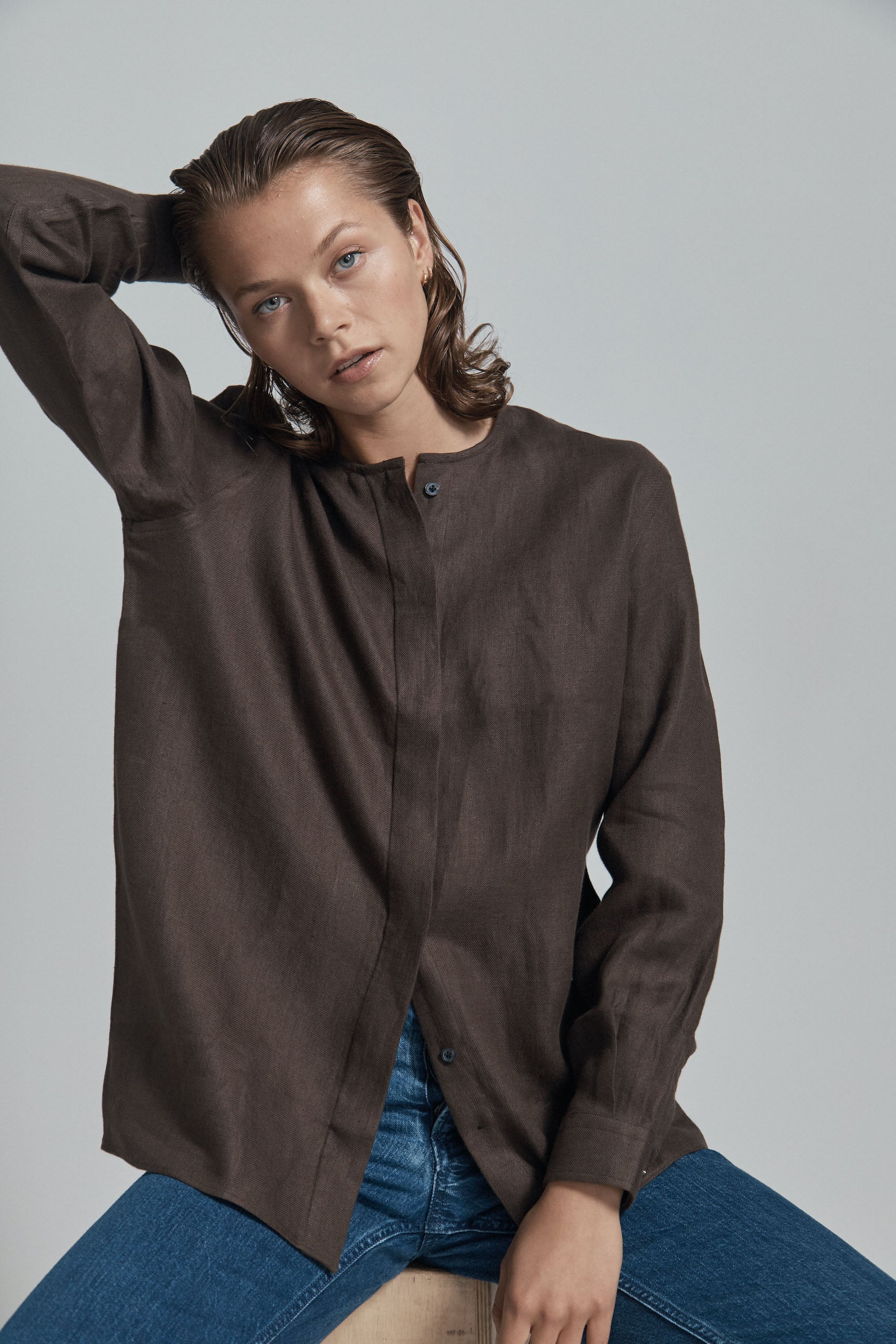 Chocolate Linen Sans-Collar Shirt