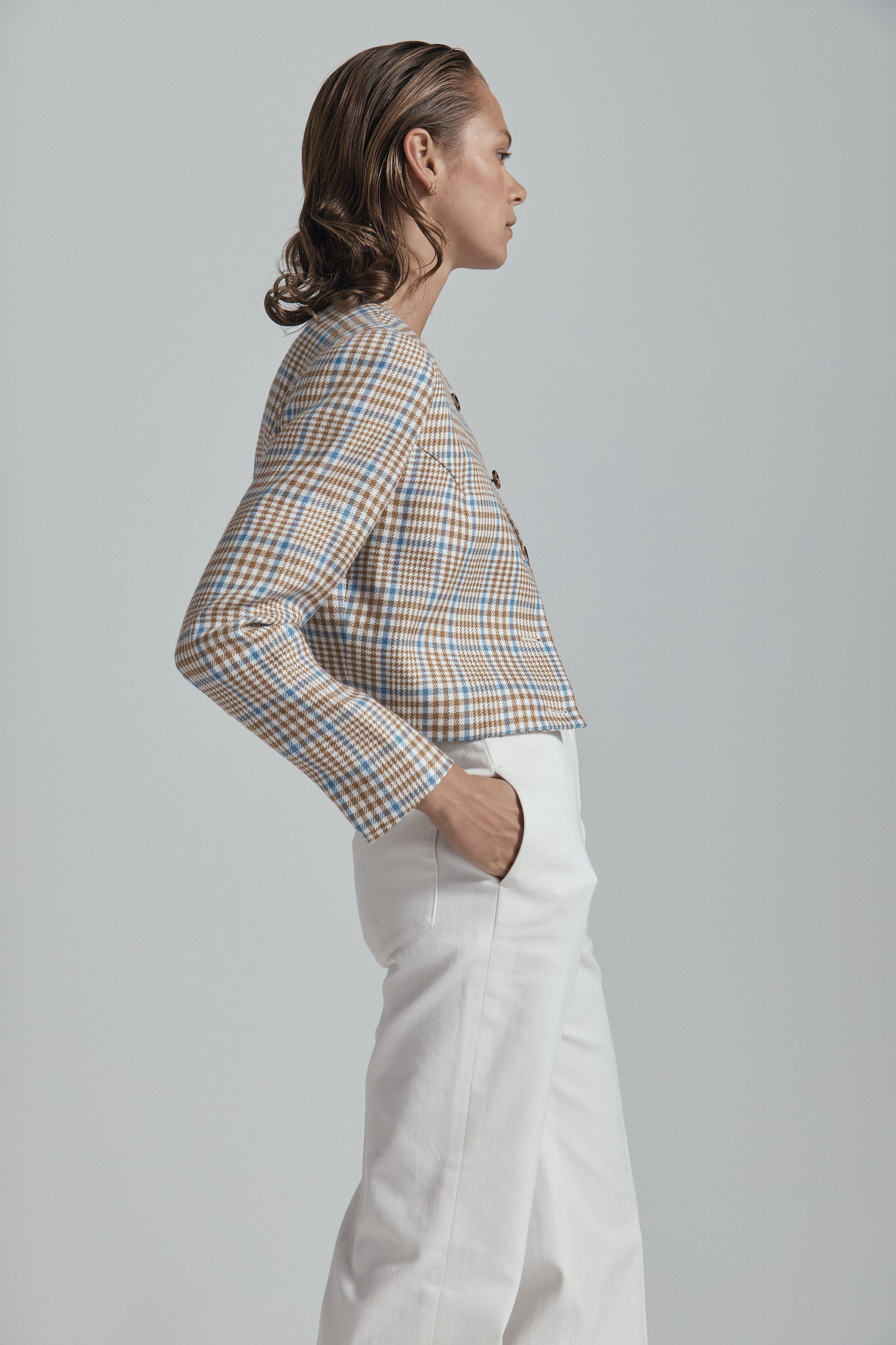Caramel & Blue Check Corta Jacket