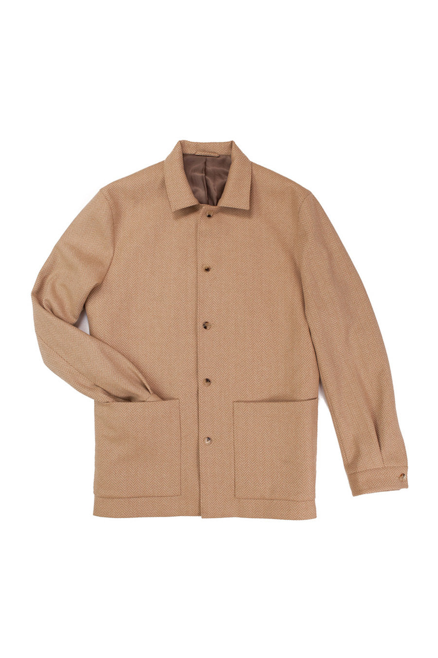 Herringbone Camelhair Lined Shirt Jacket