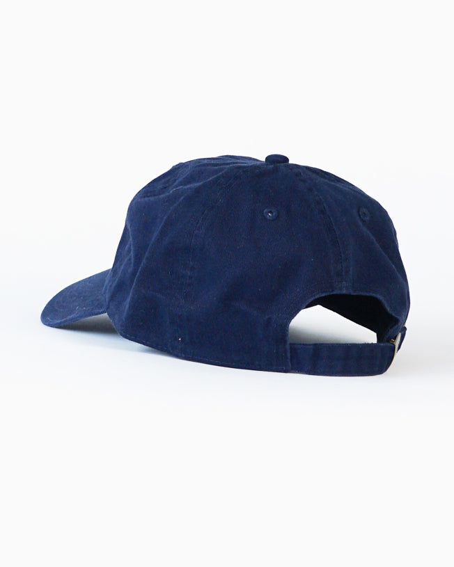 Navy Dad Cap with White Sporting Logo
