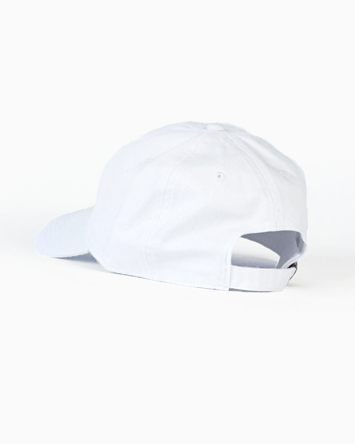 White Dad Cap with Navy Sporting Logo