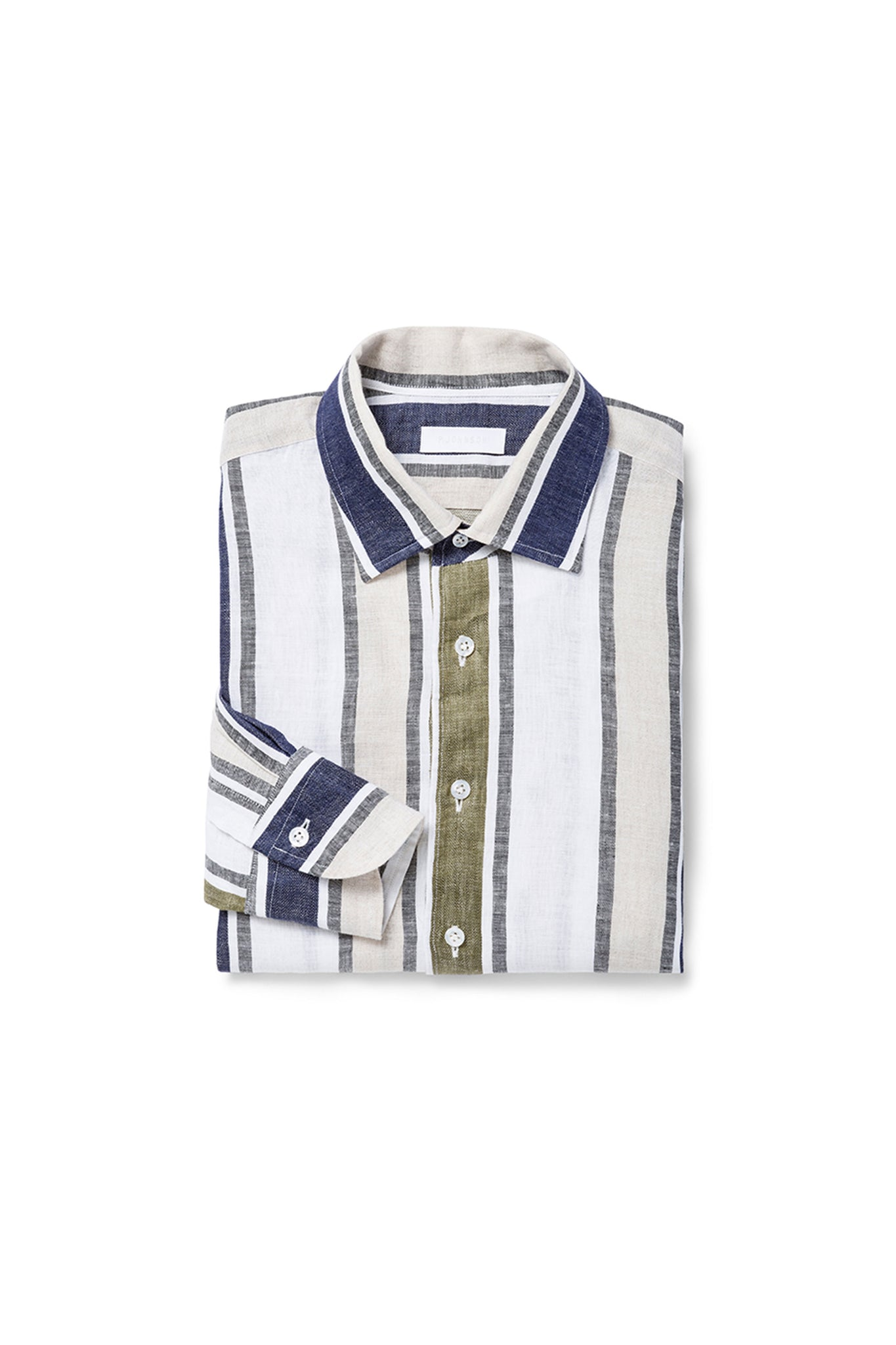 Vertical Multi Stripe Linen Shirt