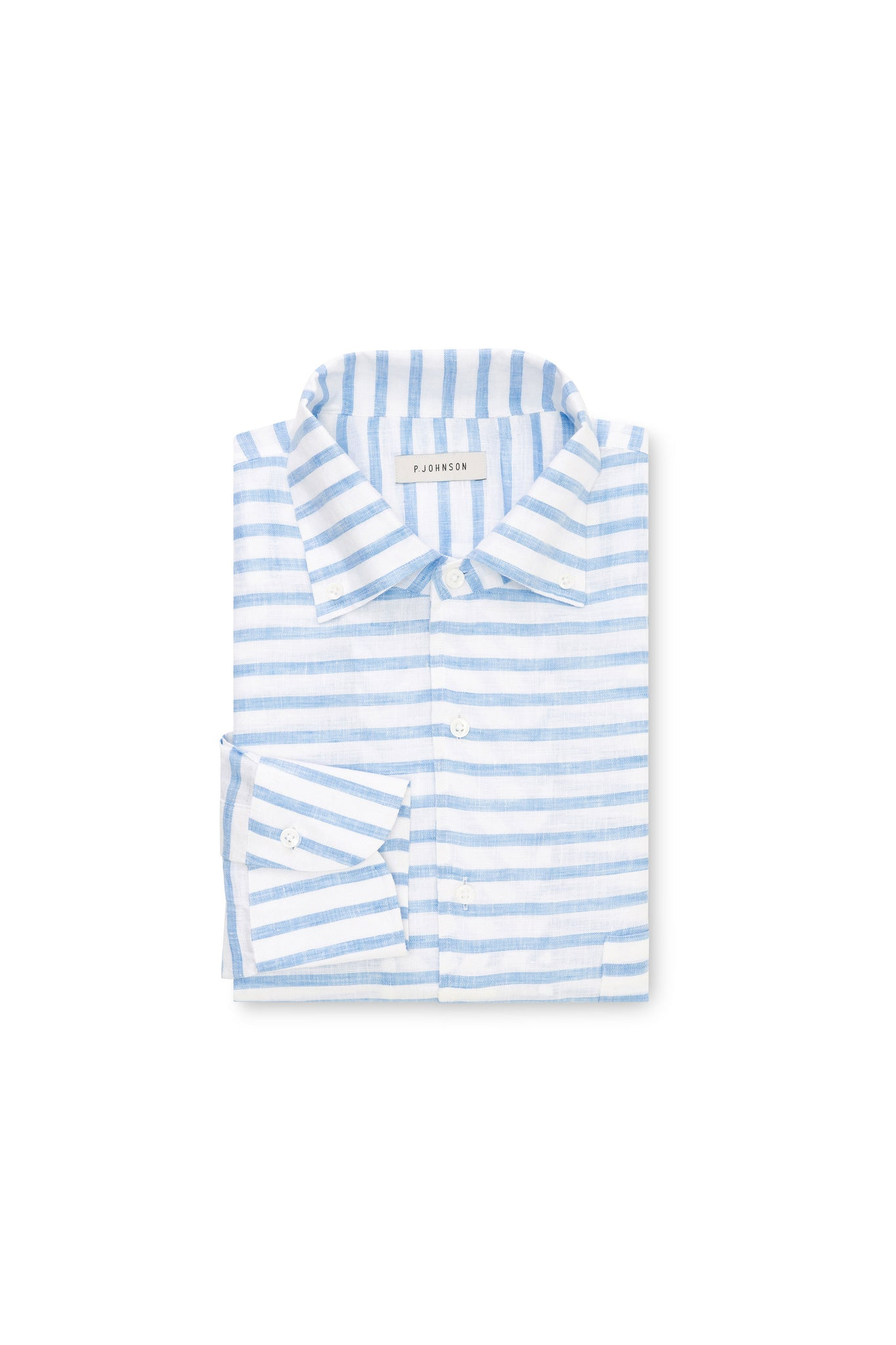 Light Blue and White Horizontal Stripe Linen Shirt
