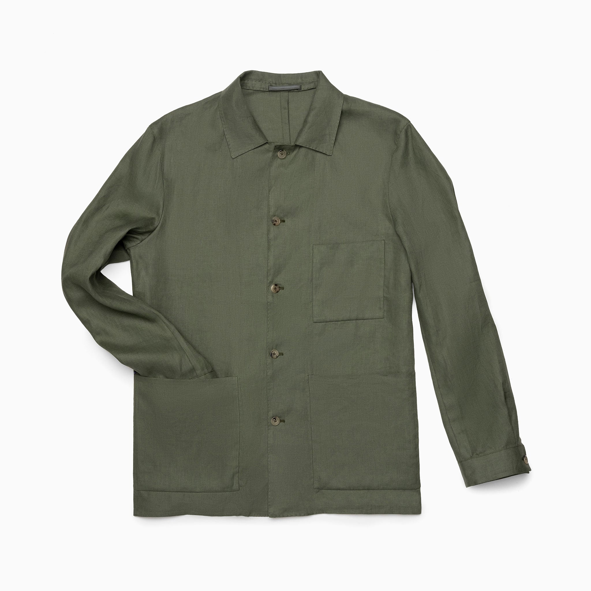 Army Green Linen Shirt Jacket