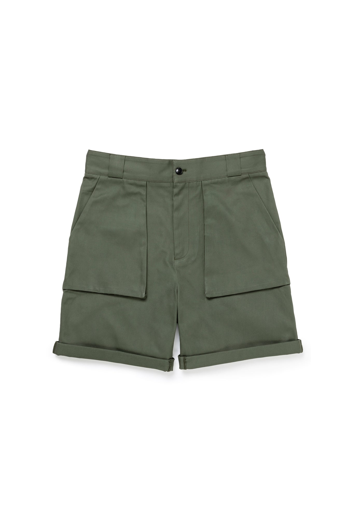 Green Superfine Cotton Walking Shorts