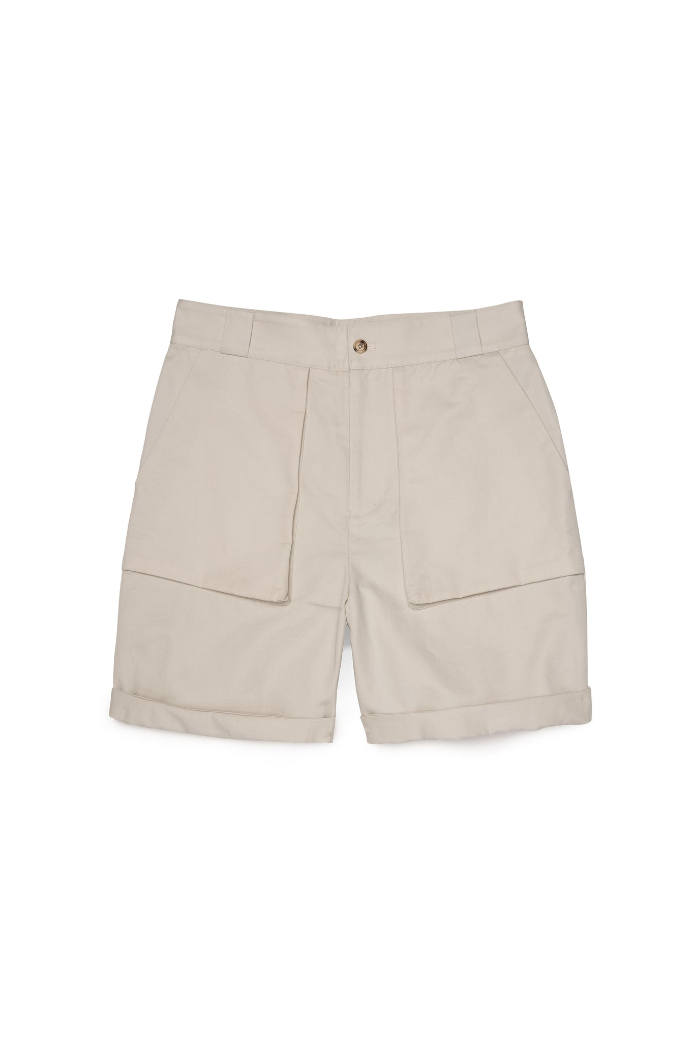 Beige Cotton Linen Walking Shorts