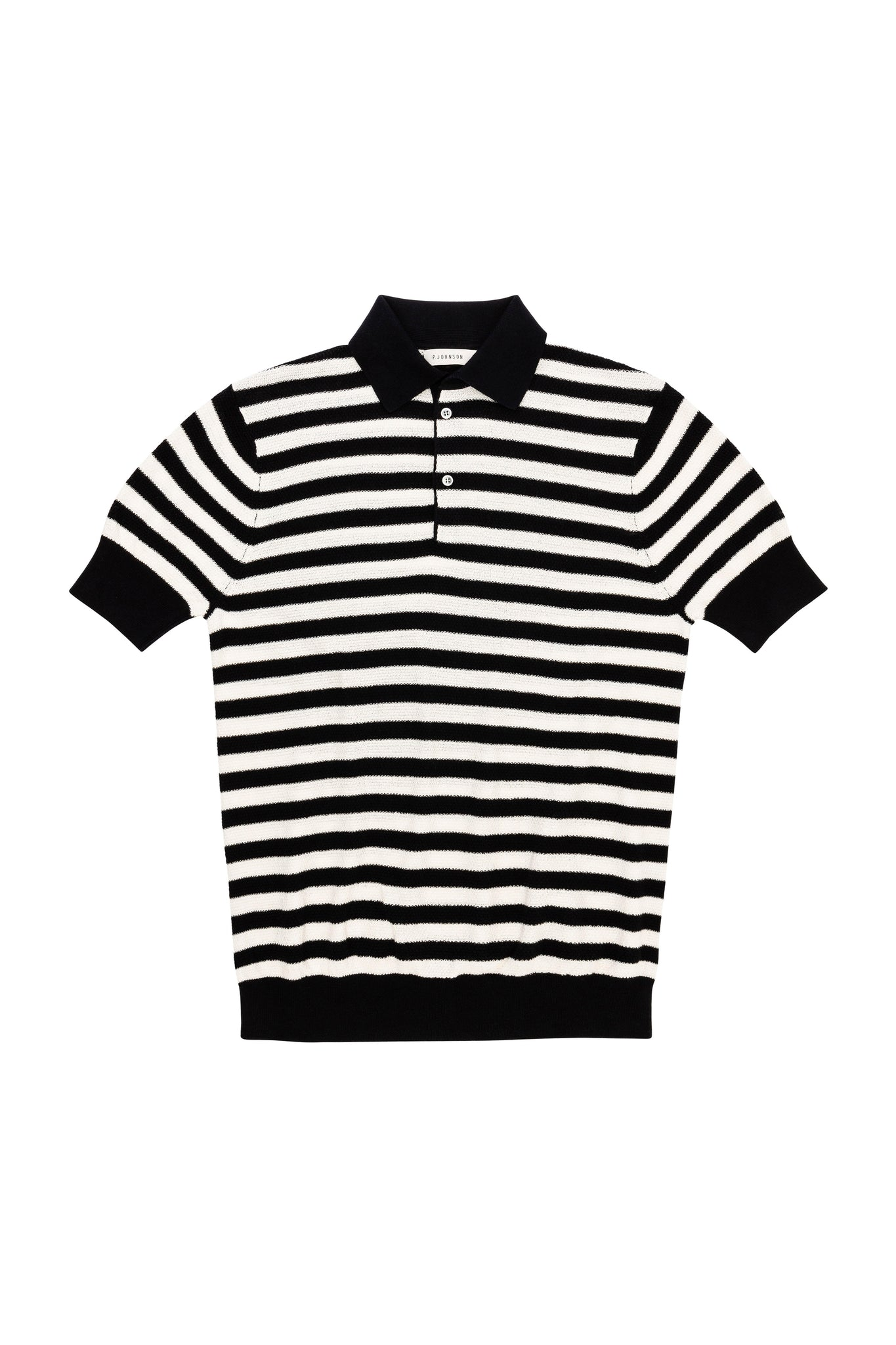 Navy and White Stripe Short Sleeve Honeycomb Knit Polo