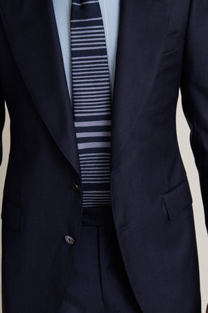 Navy and Dusty Blue Irregular Stripe Tie