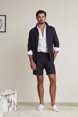 Navy Linen Drawstring Shorts