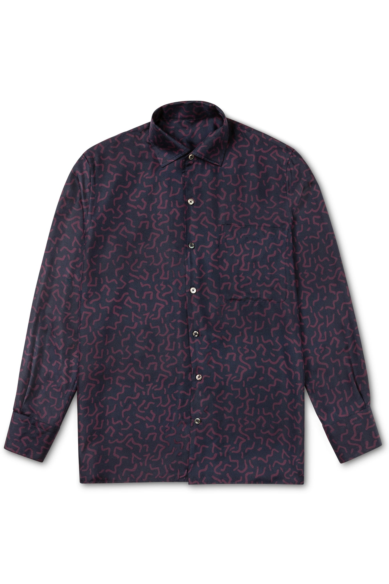 Squiggle Print Silk Shirt