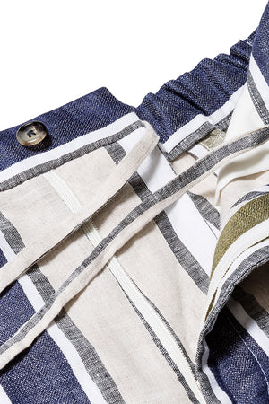 Vertical Multi Stripe Linen Drawstring Trousers