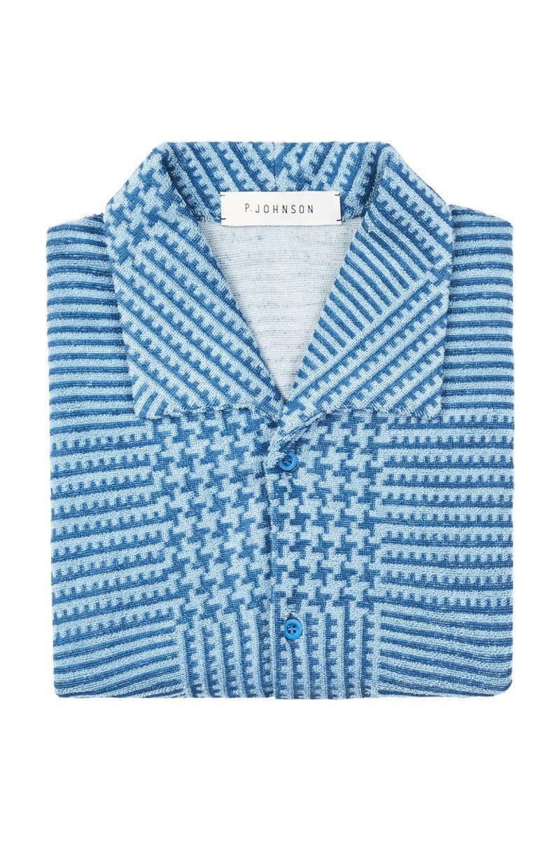 Blue POW Print Terry Towel Button Up Polo Shirt