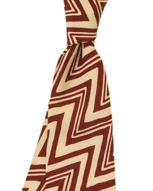 Burgundy and Cream Zig Zag Tie