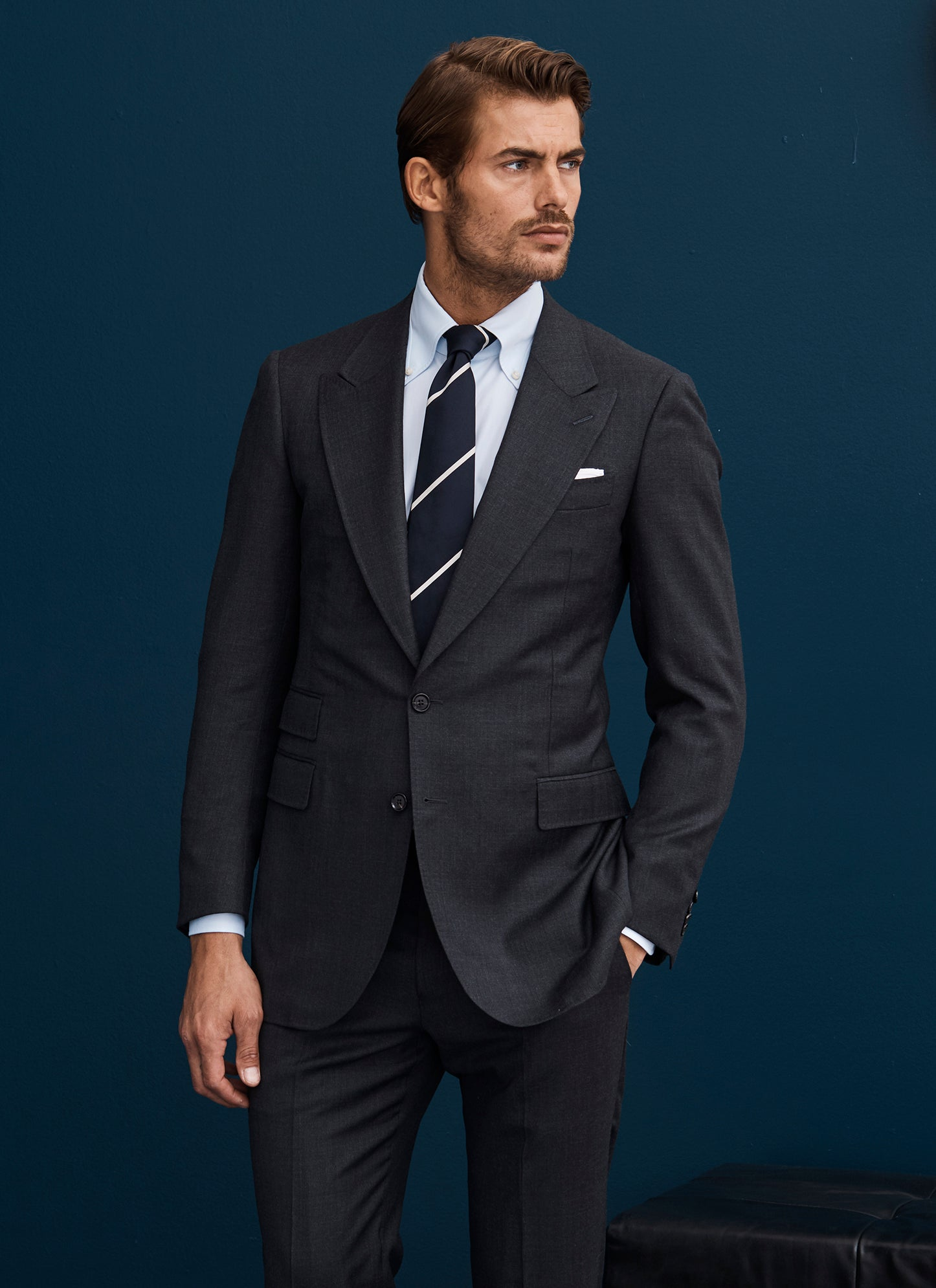 Wide Navy and Thin Cream Stripe Tie