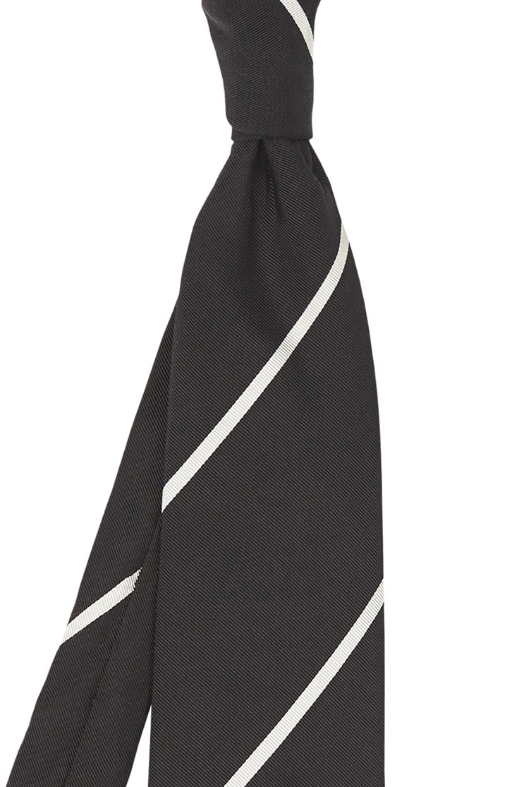Wide Black and Thin Cream Stripe Tie