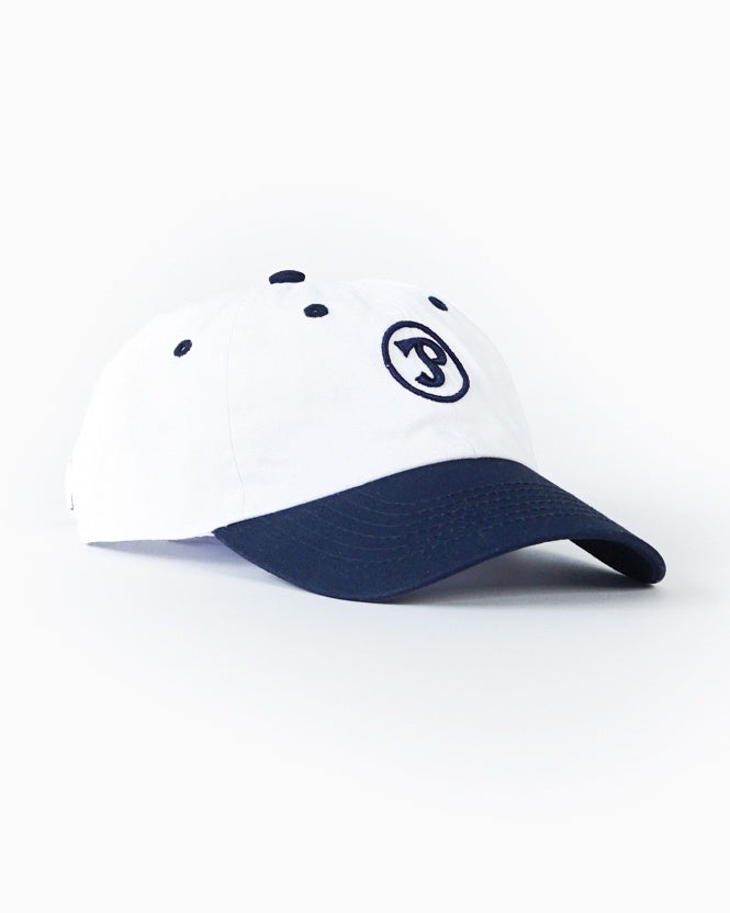 White & Navy Dad Cap with Sporting Logo