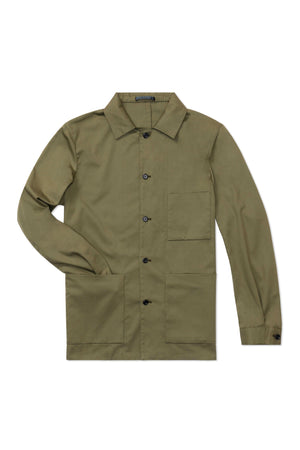 P Johnson Green Cotton Tencel Shirt Jacket