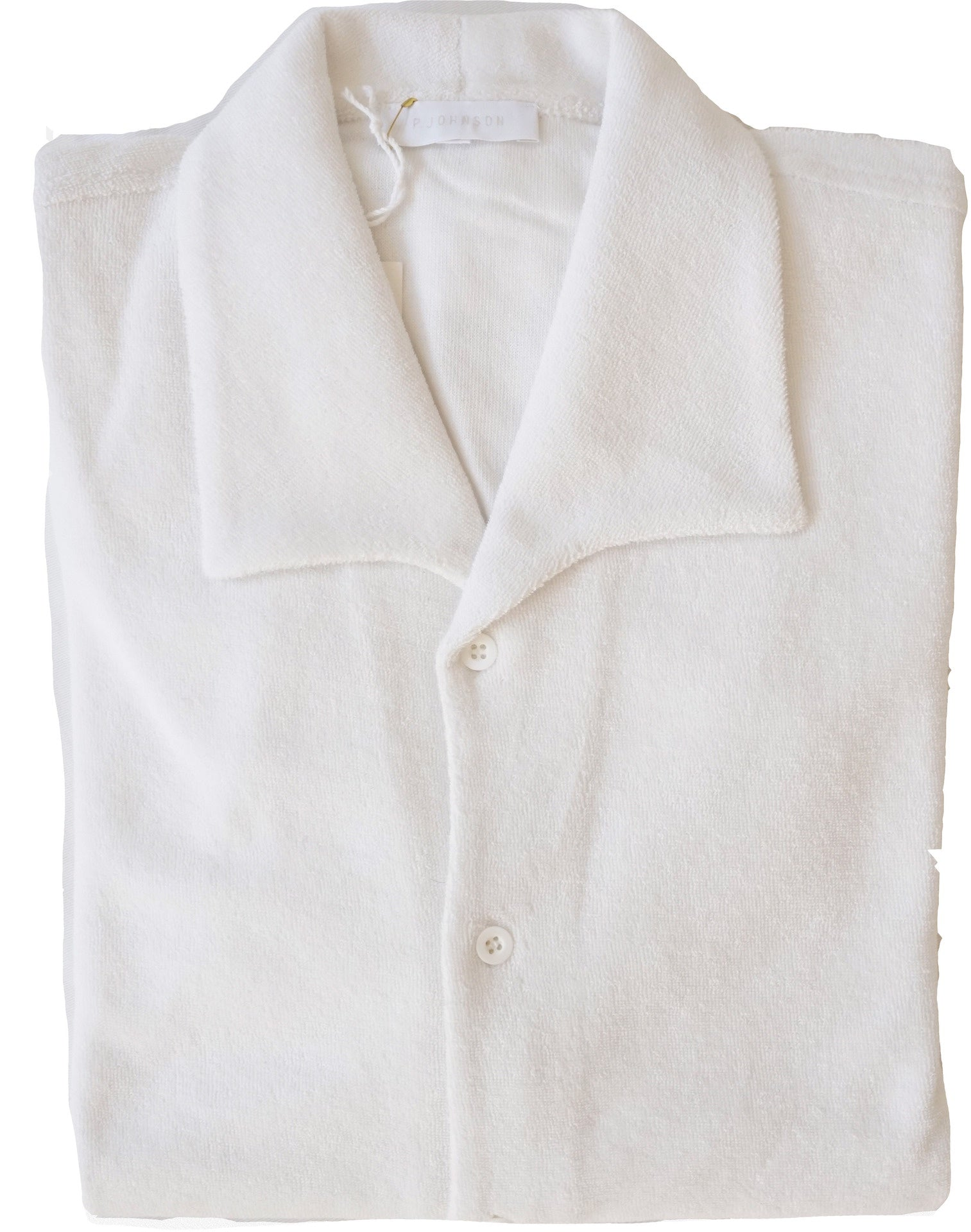 White Terry Towel One Piece Button Up Polo Shirt