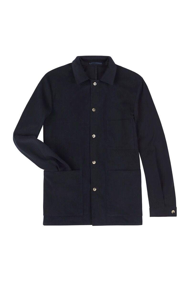 Navy Brushed Superfine Cotton Shirt Jacket