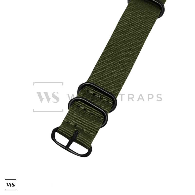Army Green Plain ZULU Strap (Black Buckle)
