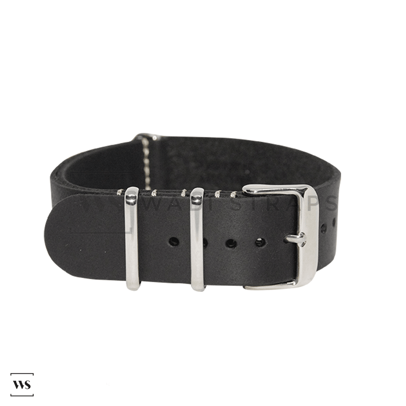 Black Crazy Horse Leather NATO Strap Folded