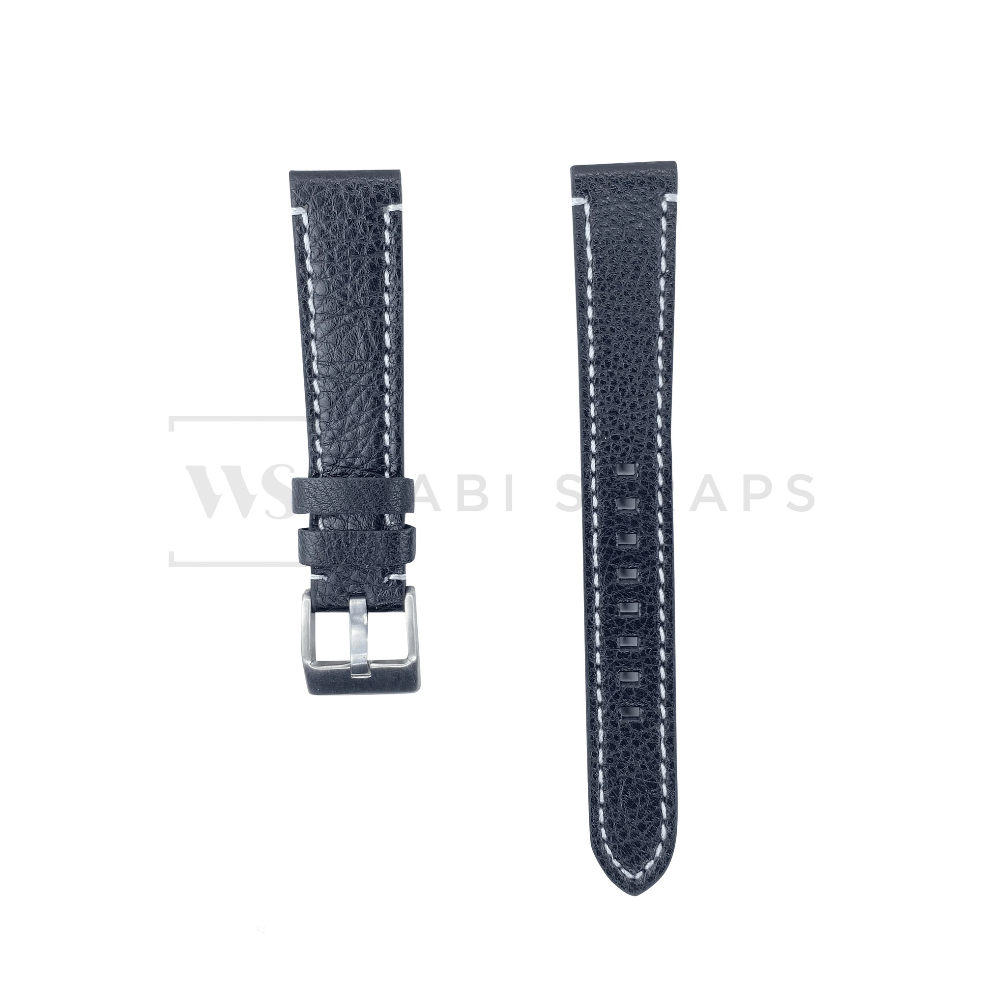 Black-White Thick Leather Watch Strap Front