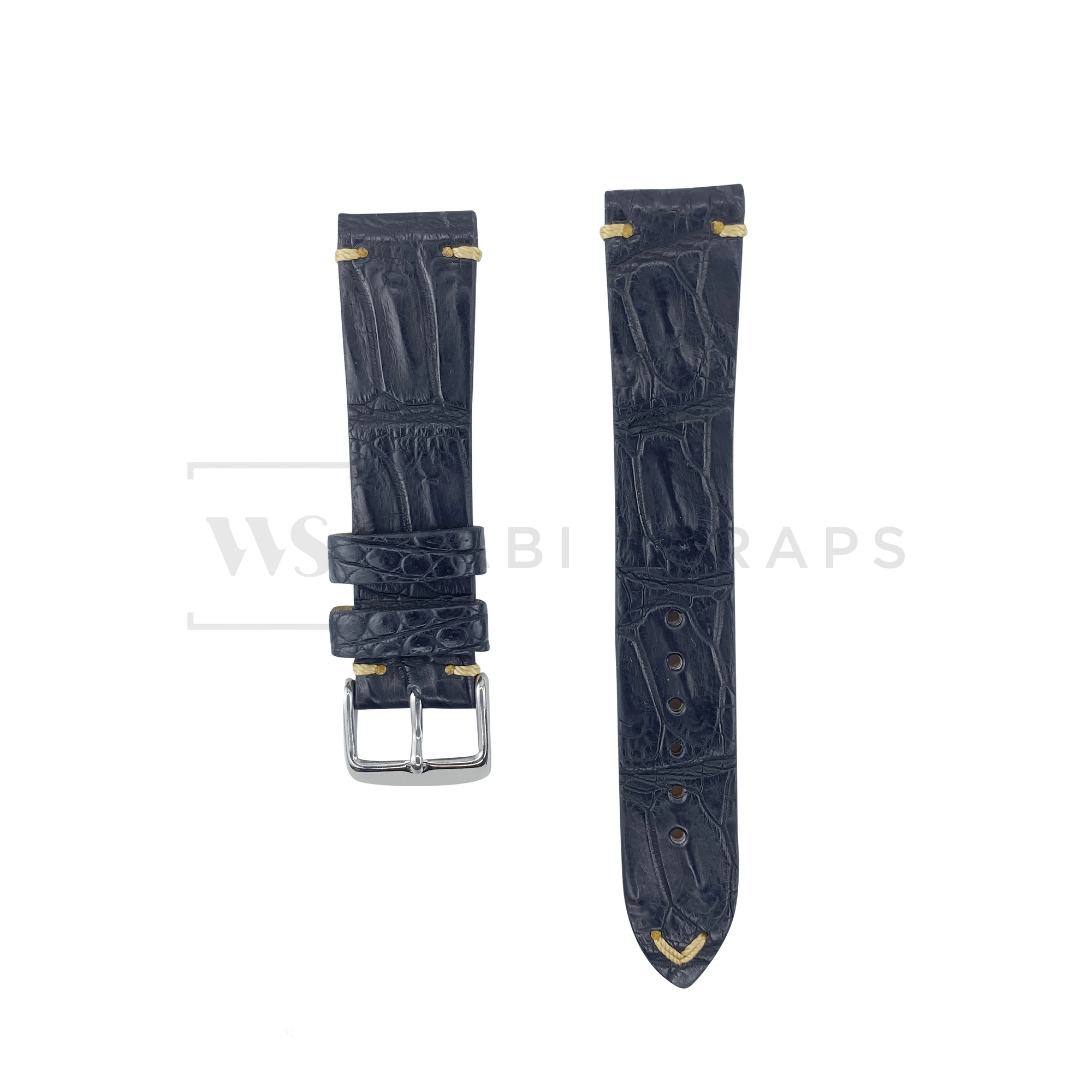 Black Bamboo Vintage Leather Strap Front