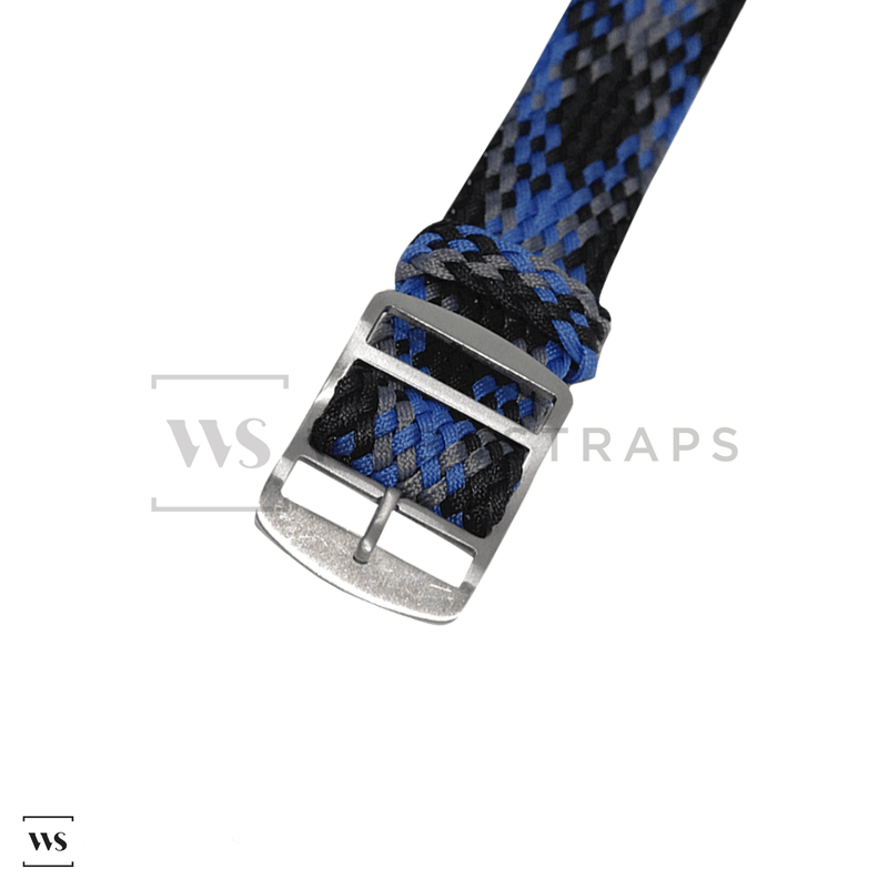 Black, Blue & Grey Braided Perlon Strap Round