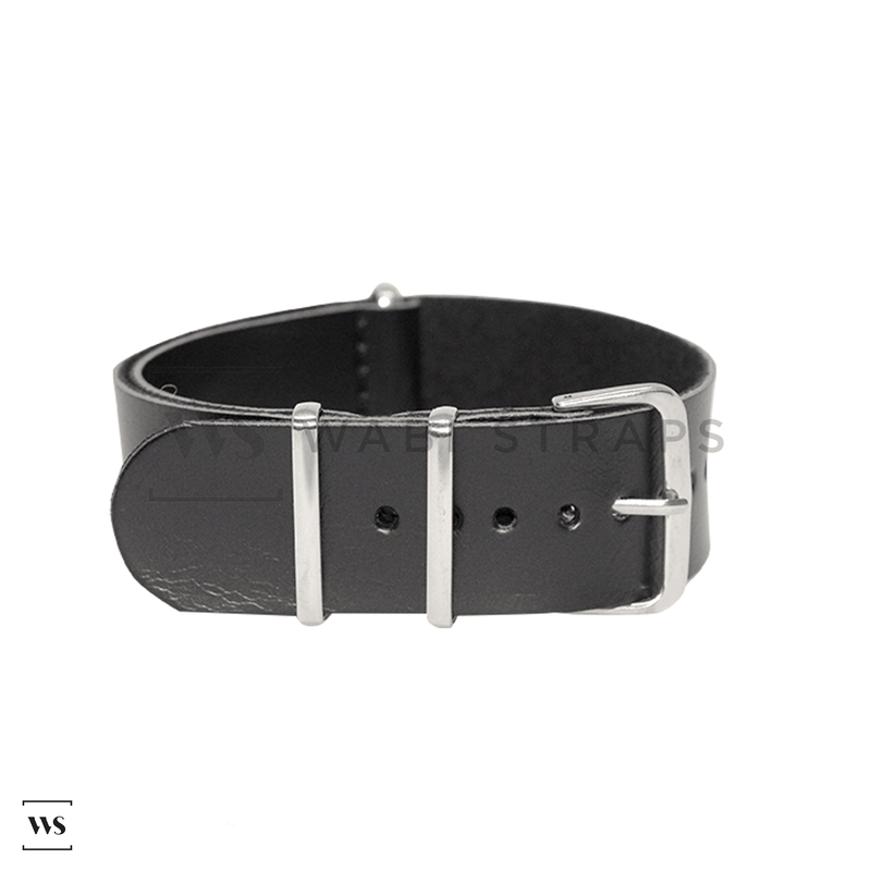 Black Faux PU Leather NATO Strap Folded