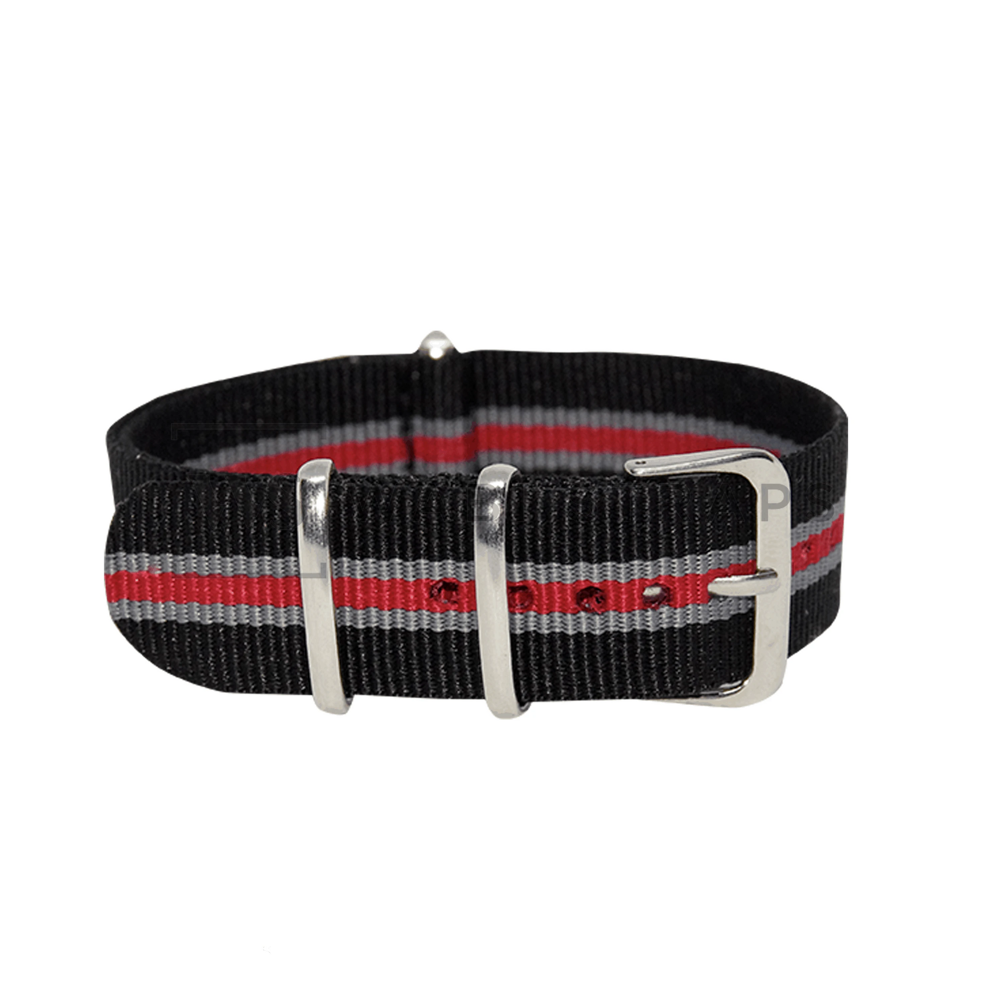 Black, Grey & Red Regimental NATO Strap Round