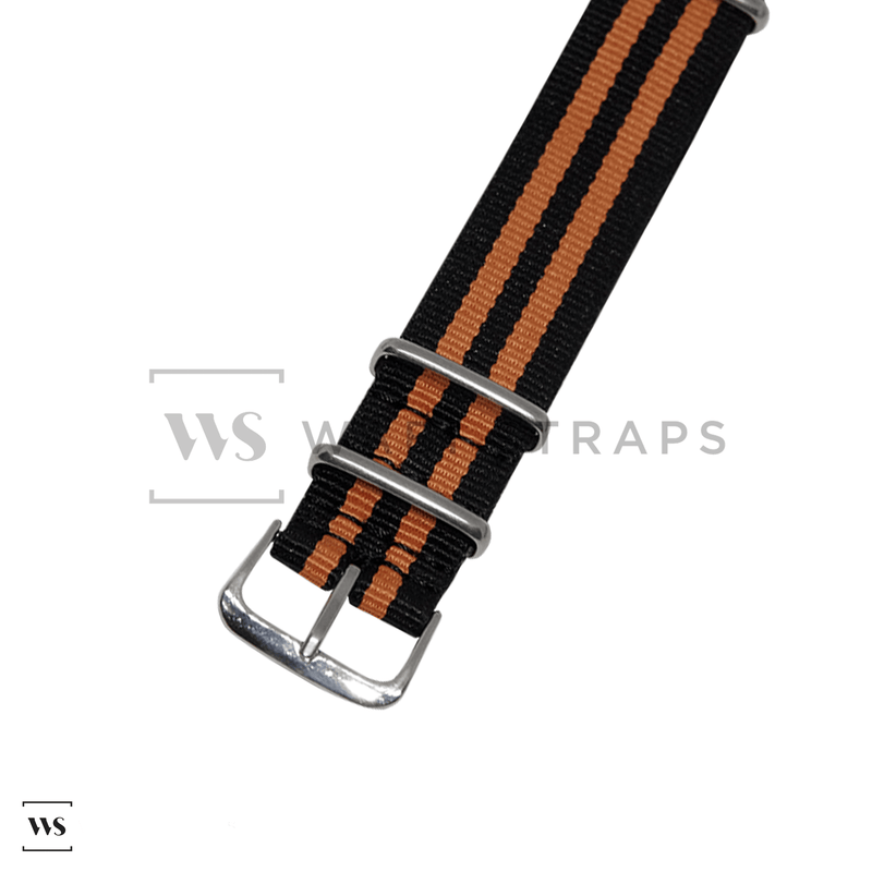Black & Orange Ballistic NATO Strap Round