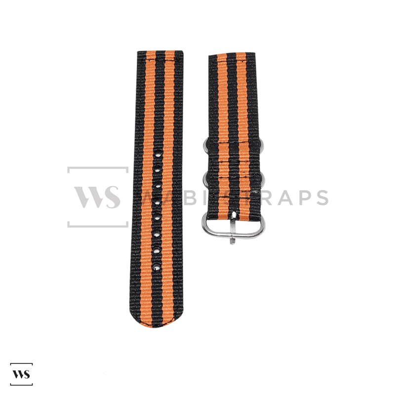 Black & Orange Two Piece ZULU Strap Front