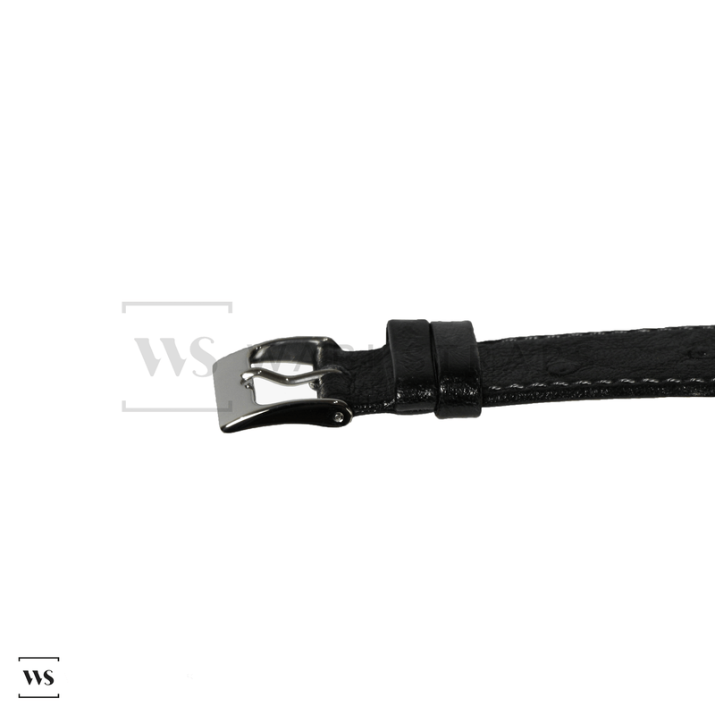 Black Ostrich Grain Watch Strap Front