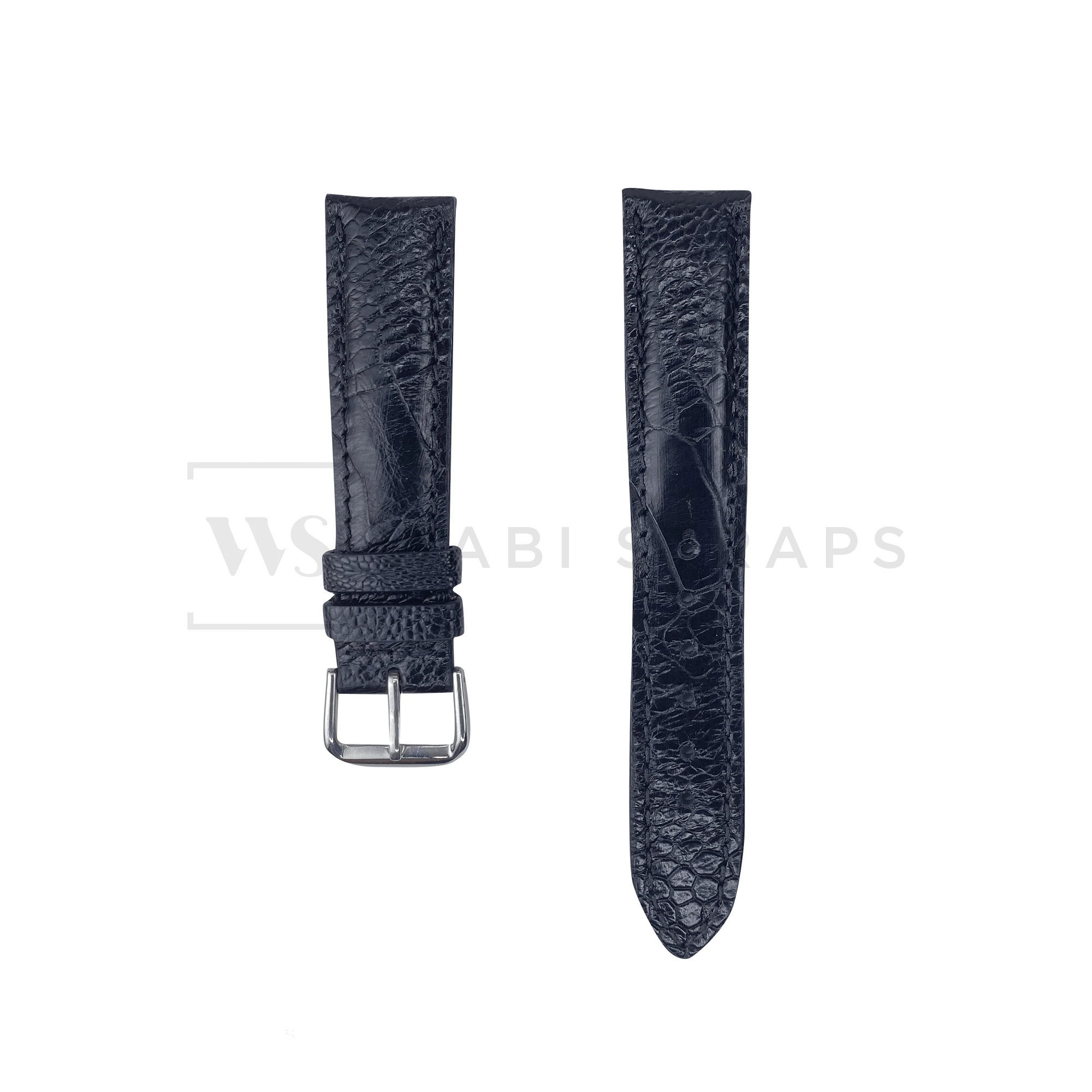 Black Ostrich Handcrafted Leather Strap Front