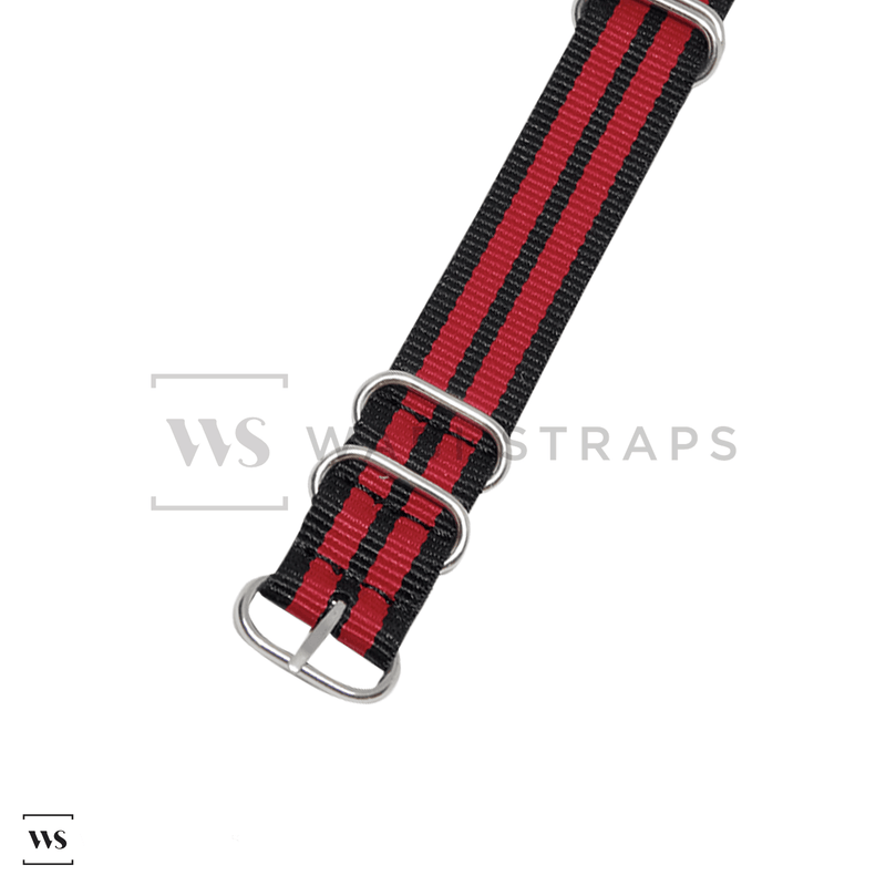Black & Red Striped ZULU Strap Round