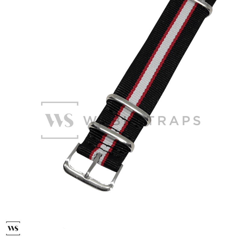 Black, Red & White Regimental NATO Strap Round