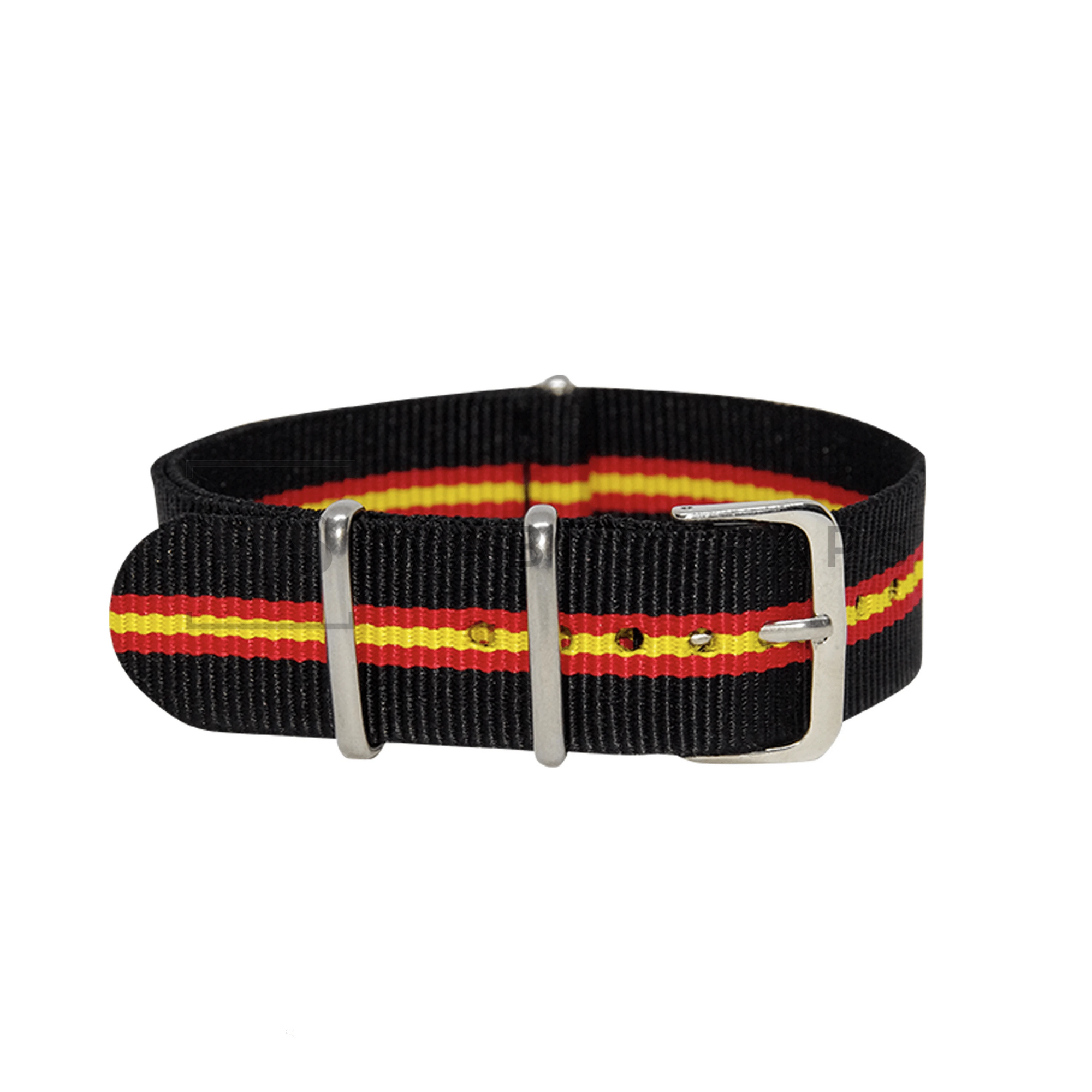 Black, Red & Yellow Regimental NATO Strap Round