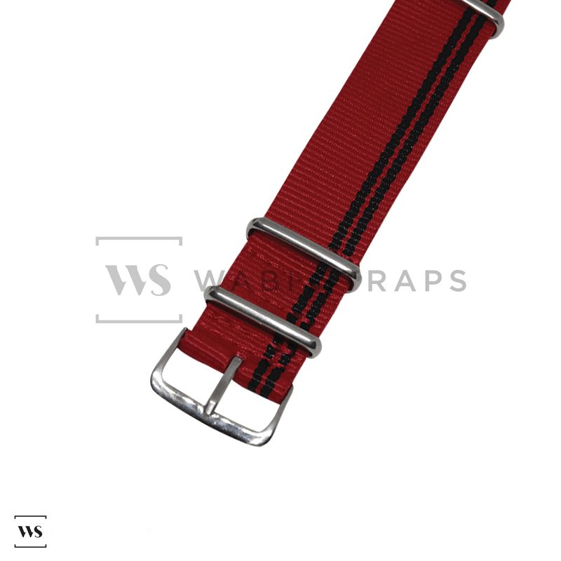 Black Stripes on Red Ducati Special NATO Strap Round