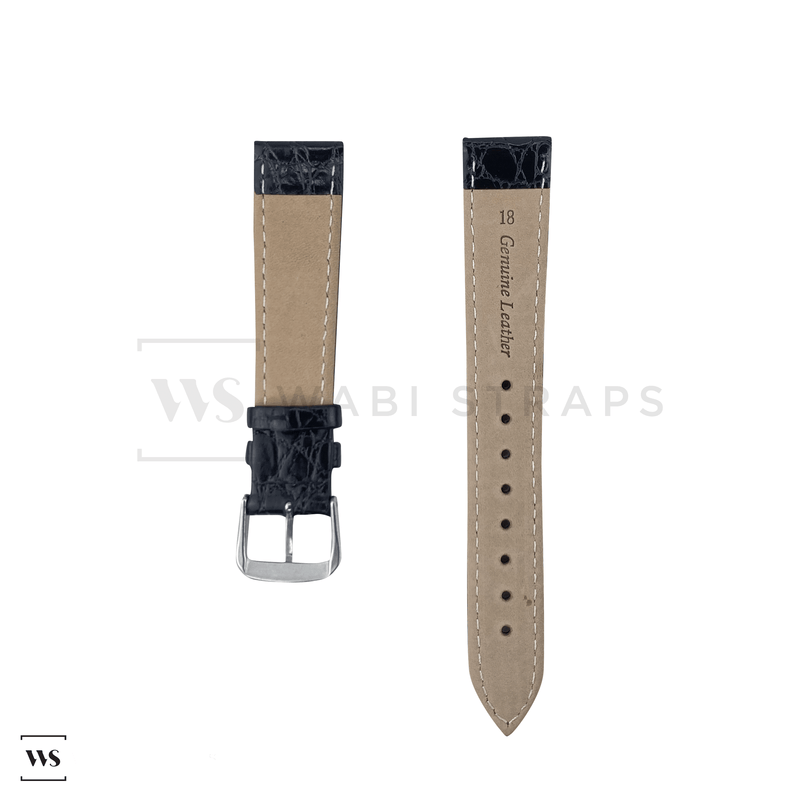 Black Tapered Dress Watch Strap Front