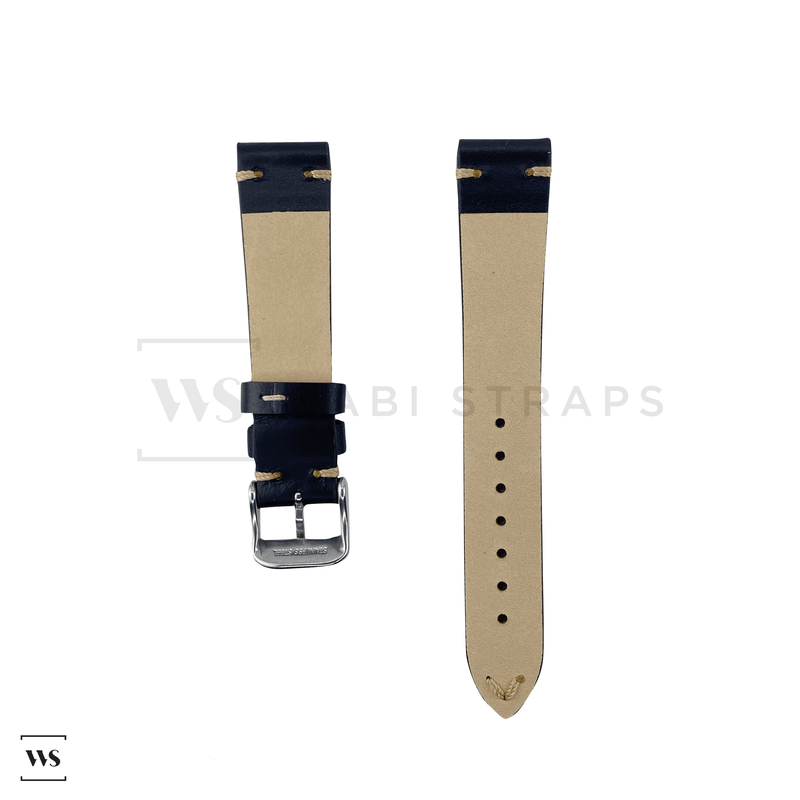 Black Two Stitch Smooth Leather Strap