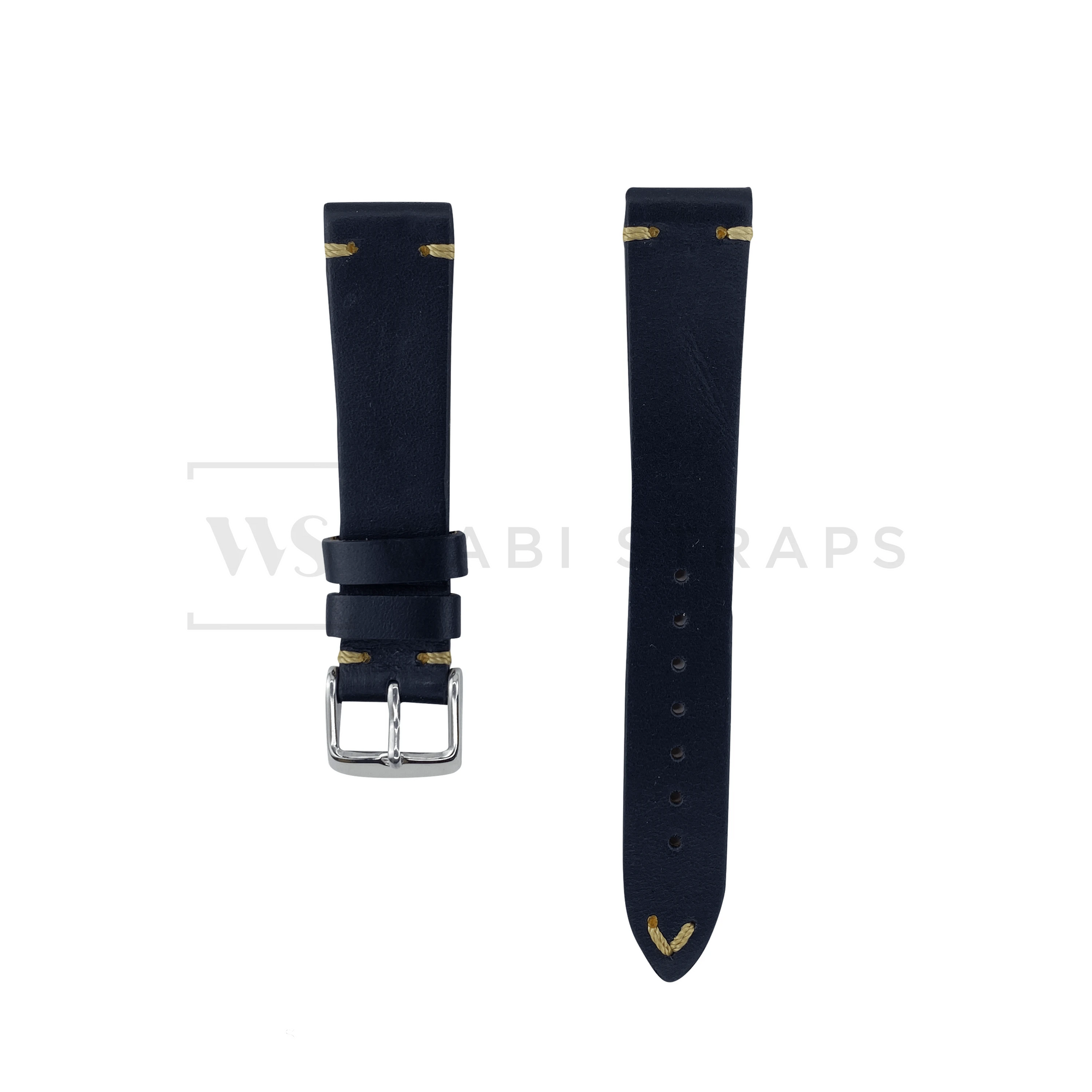 Black Two Stitch Smooth Leather Strap Front